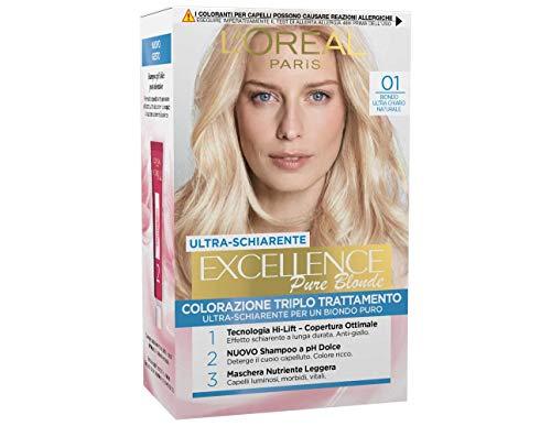 L'Oréal Paris Excellence Creme, Tinta Colorante con Triplo Trattamento Avanzato, Copre i Capelli Bianchi, 01 Biondo Ultra Chiaro Naturale
