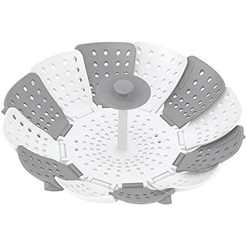 Prehelife Vaporera Lotus Plus plegable de vapor de silicona Cesta del vapor olla creativa herramienta de la cocina (gris y blanco)-Accesorios para cocinar al vapor