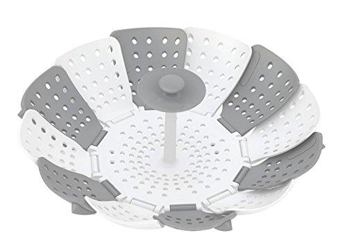 Prehelife Vaporera Lotus Plus plegable de vapor de silicona Cesta del vapor olla creativa herramienta de la cocina (gris y blanco)-Accesorios para cocinar al vapor width=