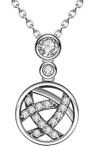 SaySure- 925 Sterling Silver Irregular Weave Round Pendant