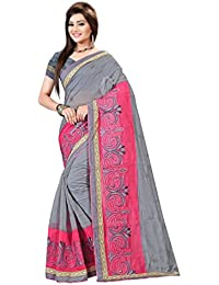 Laadki Designer Women's Cotton Grey & Pink Color Saree( LD068 )