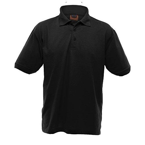 UCC 50/50 Heavyweight Pique Herren Polo-Shirt, Kurzarm (5XL) (Schwarz) - American Heavyweight T-shirt