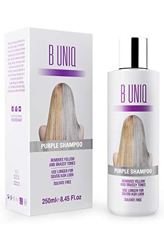 Purple Shampoo von B Uniq für blonde, blondierte, gesträhnte & graue Haare, Violett-Pigmente gegen Gelbstich für silberne und violette Töne, revitalisierend & sulfatfrei- 250 ml - Produkte Färben Haare