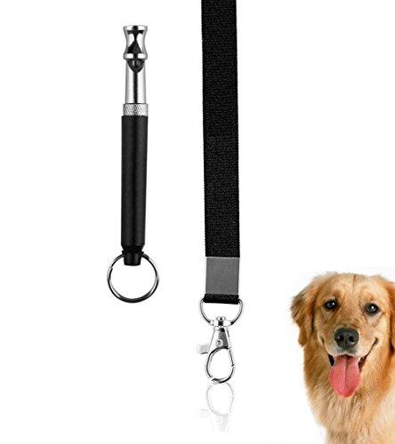 Golvery Dog Training Whistle mit Lanyard, fantastischen Whistles für Sonic Bellen abschreckungsmittel, Hund, behavioral Aids gehorcht mit verstellbarem Ultrasonic-Frequenz – Set von 1 – Schwarz (Schnalle Tornado Ball)