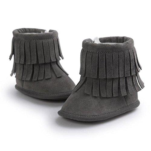 BZLine® Baby Schneestiefel Warm Quasten weiche Sohle Krippe Schuhe Stiefel Dunkelgrau