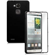 kwmobile Funda para Huawei Ascend Mate 7 - Case completa de TPU y cuero sintético - Cover protector Full Body en negro transparente