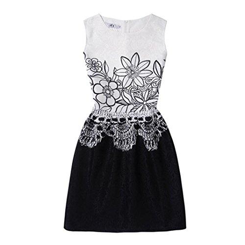 Kinder Baby Yesmile Kinder Baby Blumen Patchwork Sommer Kleid/Prinzessin Kleider/Mädchen Kleinkind/Party Kleidung/6-12Jahr (150, Weiß)