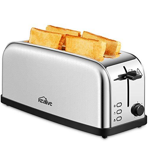 Kealive ST-417 Tostapane Prepara un toast croccante con il tostapane Kealive 2 slot a 4 fette. L'elegante e grande apparecchio fornisce risultati affidabili, tostando due o quattro fette di pane alla volta, in modo che la famiglia può fare colazione ...