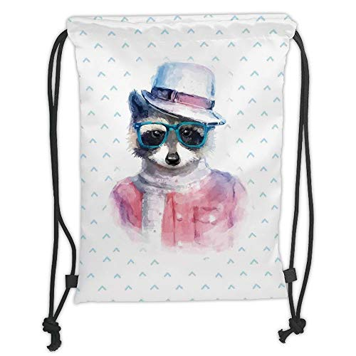 LULUZXOA Gym Bag Printed Drawstring Sack Backpacks Bags,Funny,Retro Hipster Funky Raccoon with Sunglasses Hat Pullover Portrait Animal Humor Theme,Pink Blue Soft Satin