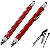 2PCS PACK 6 en 1 herramienta pluma multifunción - Incluye 1 bolígrafo, punta de la aguja universal, regla, 2 tipos Destornilladores, Gradienter - Instrumentos de escritura multifunción (Rojo mate)