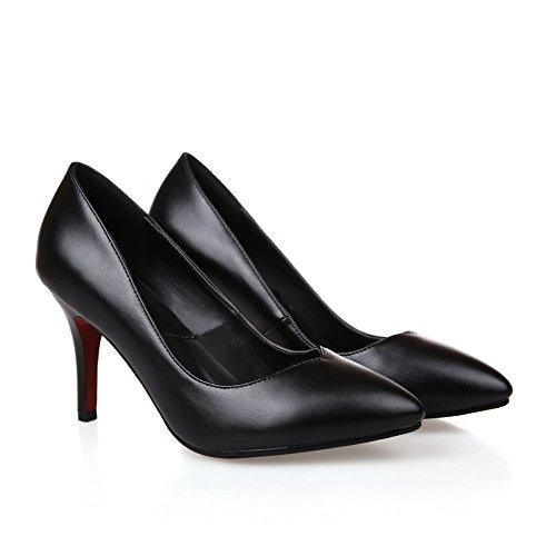 AllhqFashion Femme Pointu à Talon Haut Matière Souple Couleur Unie Tire Chaussures Légeres Noir