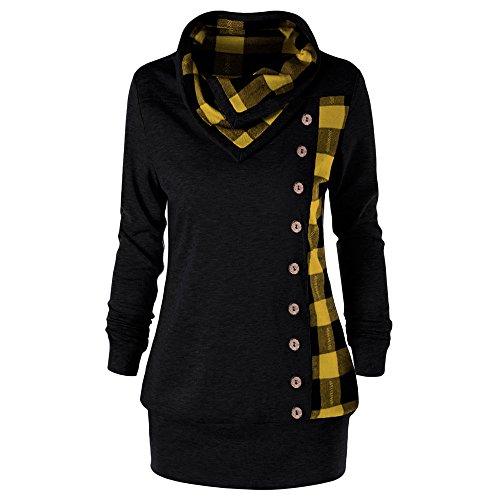 CharMma Damen Sweatshirt Übergröße Plaid Cowl Neck Knopf Verschönert Tunika Oberteil (Schwarz-Gelb, XXXL)