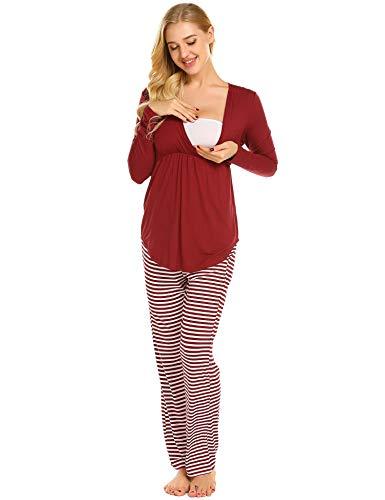 MAXMODA Maternité Pyjama Grossesse Femme Chemise de Nuit Allaitement Bordeaux L