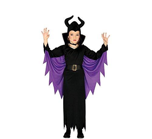 Guirca Kostüm Regina Malefica Mädchen 5/6 Jahre, Farbe schwarz und lila, 5-6, 87718 (Kind - Maleficent Kostüm)