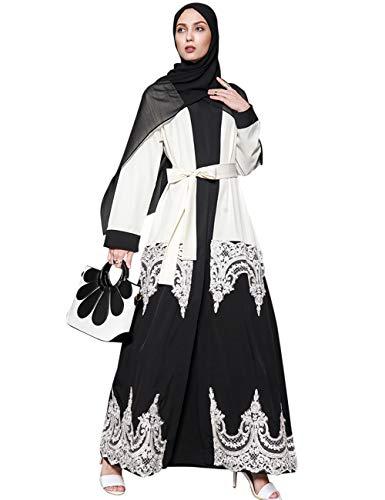 TAAMBAB Damen Kleider Strickjacke Spitze Abaya - Morgen Mantel Vertuschung Muslim Islamisch Arabisch Dubai Boho Kleidung Lange Bluse Kimonos