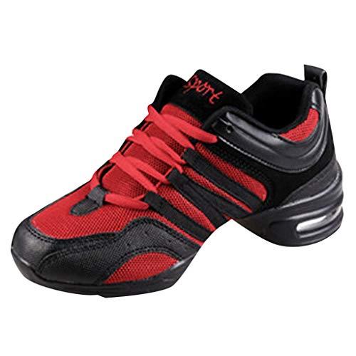 Damen Tanzschuhe Outdoor Sneaker High Heels Stoßdämpfung Sportschuhe Laufschuhe Mode Freizeitschuhe für Trainning Running Fitness Gym Walking, Rot, 35.5 EU
