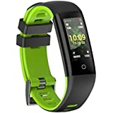 G16 [Color OLED Screen] Smart Band With Blood Pressure And Heart Rate Monitor, Multiple Sports Mode Fitness Bracelet For Android IOS (Black) (Green)