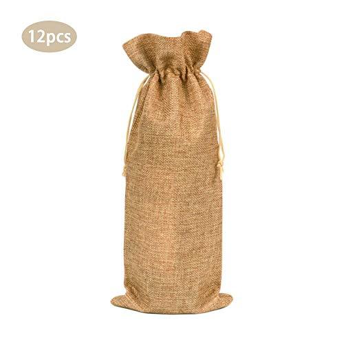 Juman634 Champagnerflasche Bundle Pocket Rotweinsäcke Sackleinen Juteflasche Set mit Kordelzug Abdeckung für Hochzeits-Party-Gefälligkeiten Weinprobe Party Packung mit 12 Gelb