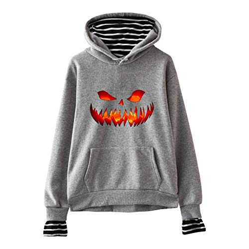 Skelett Twin Kostüm - Pullover Damen Halloween Kostüm Sweatshirt mit Kapuze Gestreifte Oberteile Herbst Winter Loose Fit Kapuzenpullis Lomelomme Sweatjacke Kapuzenpullover Hoodie Vortäuschen Twin-Sets
