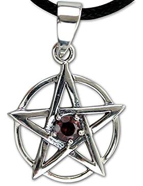 Anhänger Pentagramm 925er Sterling Silber mit rotem Zirkonia inkl Lederband