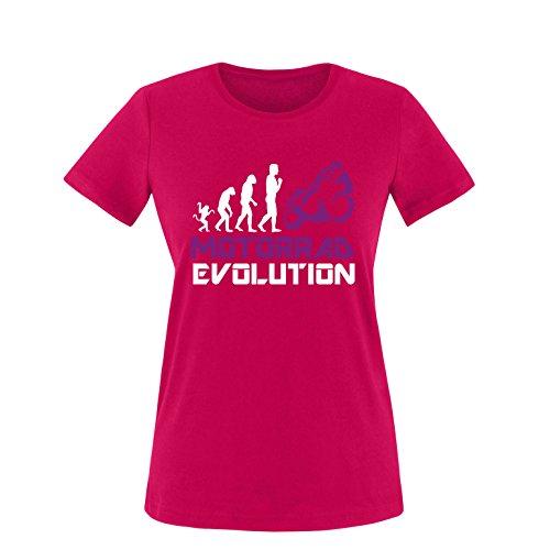 EZYshirt® Motorrad Evolution Damen Rundhals T-Shirt Sorbet/Weiss/Violett