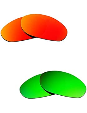 Hkuco Plus Mens Replacement Lenses For Oakley Monster Dog Red/Emerald Green Sunglasses