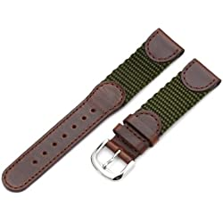 Hadley-Roma Men's MSM866RAB190 19-mm Brown and Olive 'Swiss-Army' Style Nylon and Leather Watch Strap