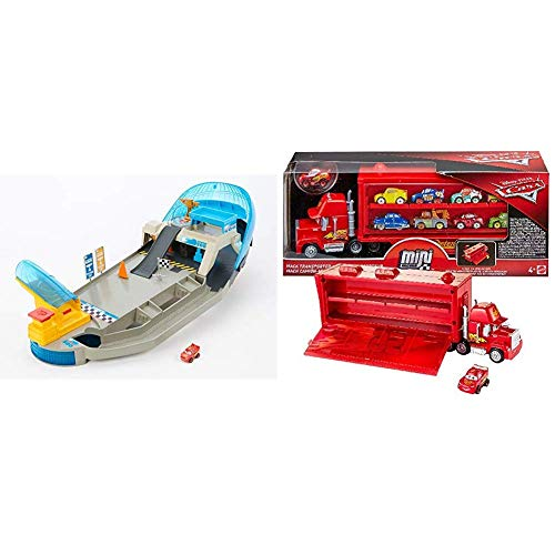 Disney Cars- Pista Pinball Florida Racers 1 Mini Racer Incluso, trasportabile & Cars Mack Trasportatore, Macchinina Saetta McQueen Inclusa, può Contenere Fino a 16 Mini Racers