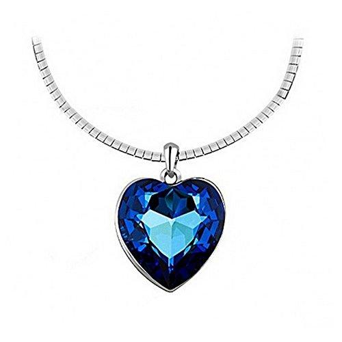 Titanic Kostüm Frauen - Isijie Jewelry Elegant Blau Saphir Herz des Ozeans Titanic Strass Kristall Anhänger Halskette für Frauen