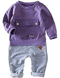 Selou Kleinkind Kind Baby Mädchen Jungen Solide Tasche Pullover Tops + Streifen Hosen Outfits Neugeborenen Camouflage Bogen Tops Hosen Outfits Set Kleidung Overall Outfits