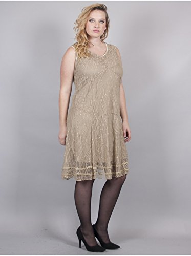 Vêtement Femme Grande Taille Robe Filet Ocre Chocolat
