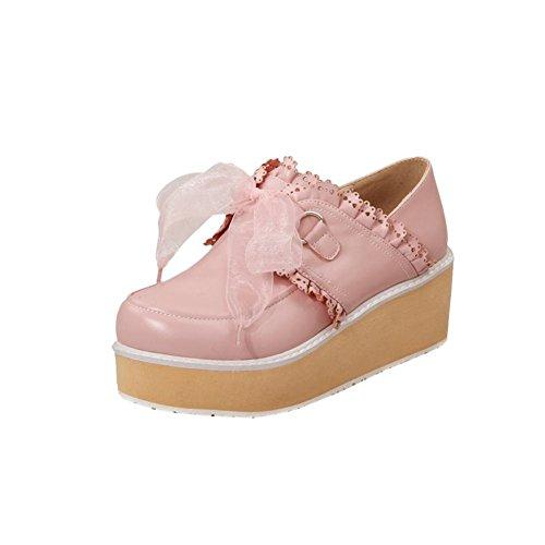 Mee Shoes Damen modern süß populär mit Spitzen Lace runder toe Geschlossen Durchgängiges Plateau Pink