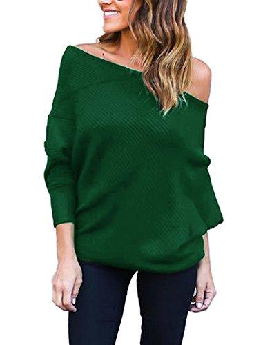 Donna Sweatshirt Casuale Allentato Jumper Tops Bluse Felpa Pipistrello Senza Spalline Maglietta Pullover Elegante Maglione a Manica Lunga Maglie Verde
