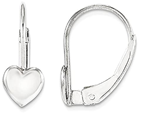 IceCarats 14k White Gold Leverback Heart Earrings Lever Back For Women Drop Dangle Love