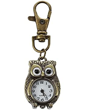 SODIAL(R)Schluesselanhaenger Uhr Schluesselring Eule Form 37x24mm