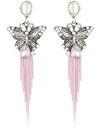 Fasherati Girl's Pink Crystal Retro Bohemian Style Long Tassel Butterfly Earrings for Women