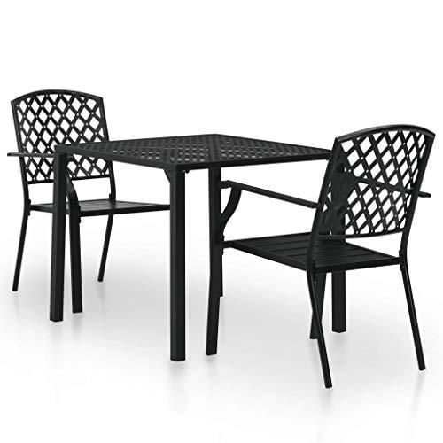 Tidyard- Garten-Bistroset 3-TLG.Gartenmöbel Set Stahl Lattenrost Gartenstuhl Stapelbar Terrassenstuhl Garten-Essgruppe Tisch und Stuhl Set für Außen- und Inneneinsatz -