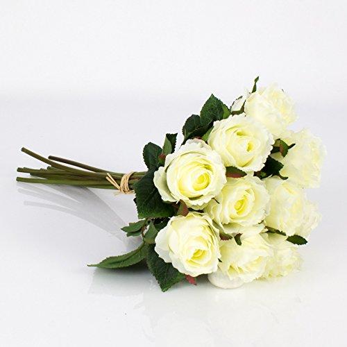 Mazzo di rose finte MOLLY, 10 rose, bianco, 35 cm, Ø 20 cm - Bouquet rose / Decorazione casa - artplants
