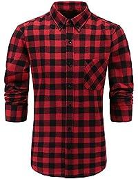 Emiqude Men's 100% Flannel Cotton Slim Fit Long Sleeve Plaid Button Down Dress Shirt
