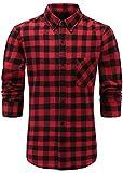 Emiqude Herren 100% Flanell Baumwolle Casual Slim fit Lange Ärmel Knopf Down Plaid Hemd Shirt Large Rot Schwarz