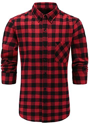 Grau Kariertes Hemd (Emiqude Herren 100% Flanell Baumwolle Casual Slim fit Lange Ärmel Knopf Down Plaid Hemd Shirt Medium Rot Schwarz)