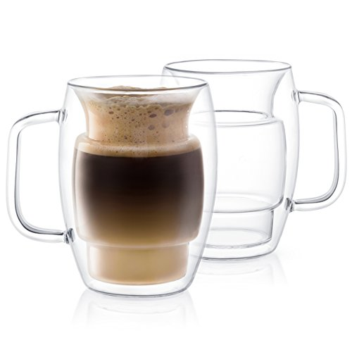 joyjolt Cadus Glas Kaffee Becher doppelwandig isoliert Tassen, Set aus 2Latte Gläsern, 16-ounces.