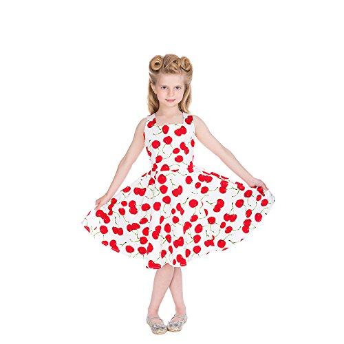 H&R Bombshell Cherry Mädchen Swing Kleid (Weiß) - 11-12 Jahre (Mädchen Kleid Cherry)