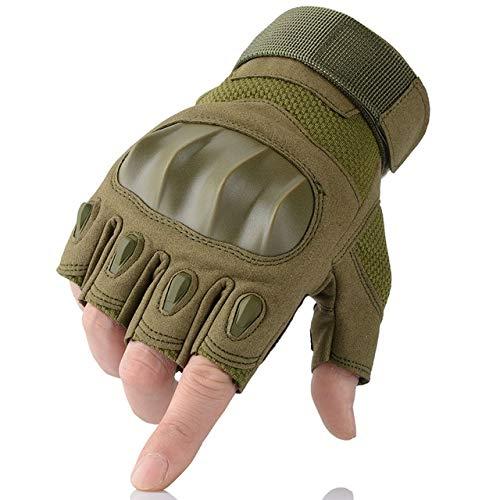Bruce Dillon Touch screen guanti in pelle PU da moto in pelle duro per motociclisti motocross moto - mezzo dito verde XMX