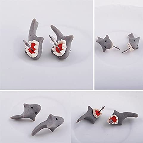 fengge Pailletten für die Ohren im Hai von Mädchen Clay Biting (grau)