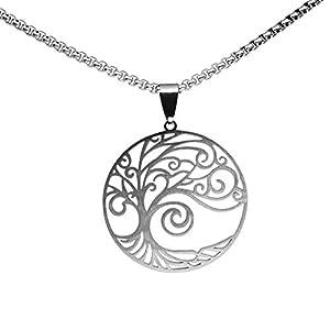pretty_awesome Halskette Lebensbaum Baum des Lebens Edelstahl Hochglanz/gebürstet