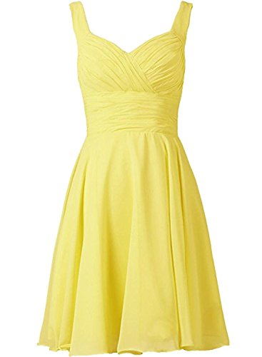Azbro Women's Sleeveless Short Bridesmaid Chiffon Dress Yellow
