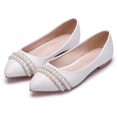 Shoeshaoge pour femme Chaussures PU Printemps Fall Confort fantaisie appartements Talon Plat Bout Pointu Perle Strass fleur pour fête de mariage & Amp; Soirée Blanc blanc