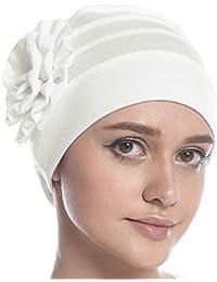 Gorro de quimioterapia para mujer con turbante musulmán, gorro de quimioterapia elástico con borde de turbante para la cabeza y la cabeza para pacientes con cáncer, pérdida de cabello de alopecia