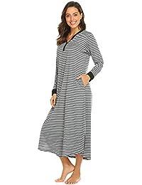 Nachthemd Damen Langarm Nachthemden Lang Schlafkleid Einteiliger Schlafanzug Nachtkleid V-Ausschnitt Streifen Knopfleiste umstandsnachthemd Nachtwäsche stillen Schlafanzugoberteil für Frauen